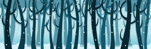 Drawing of trees in snow